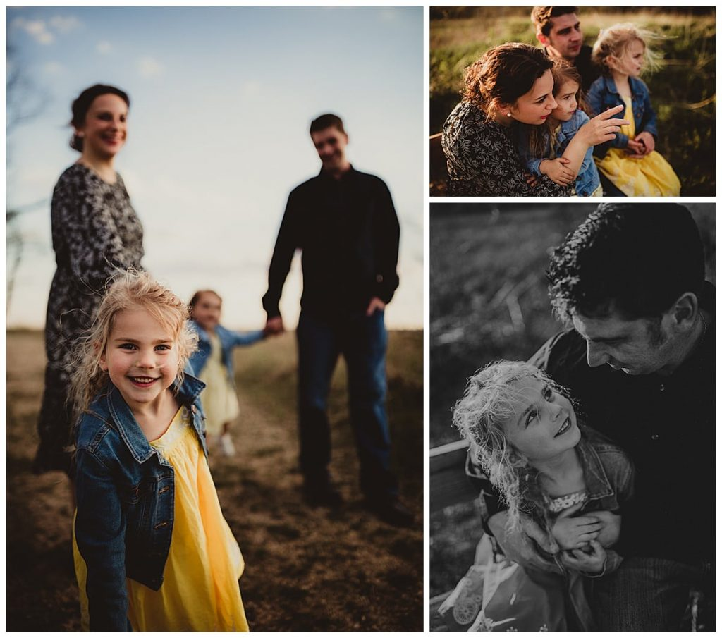 A collage of three images of a family of four playing and snuggling in a park.