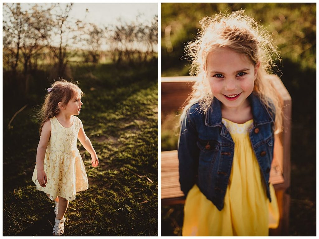 a collage of two images of two young sisters in a park