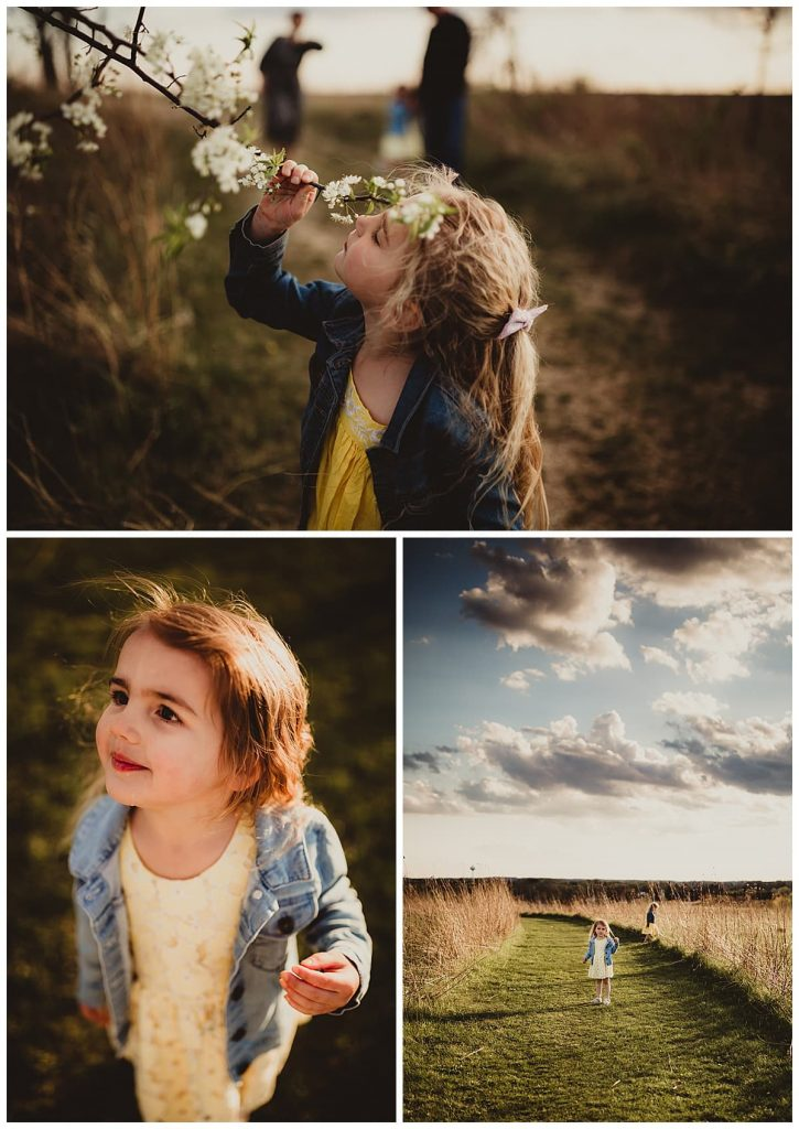a collage of three images of two young sisters playing in a park