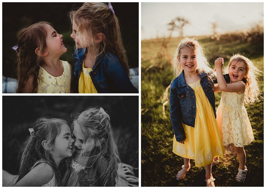 a collage of three images of two young sisters playing and laughing in a park